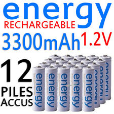 12 PILES ACCUS RECHARGEABLE AA ENERGY NI-MH 3300mAh 1.2V LR06 LR6 R06 R6 ACCU