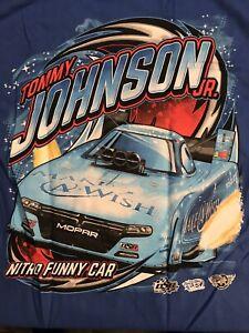 "NHRA DRAG RACING ""MAKE A WISH FC"" TOMMY JOHNSON JR T- SHIRT BLUE  SIZE 3X"