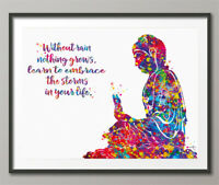 Buddha Watercolor Print Quote Art Meditation Yoga Zen Buddhism Poster Yoga-875