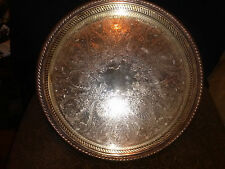 """VINTAGE W.M. ROGERS ROUND SERVING TRAY SERRATED EDGE, DETAILED 15"""" & 1 1/2"""" deep"""