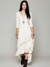 137319 Free People Mexican Wedding Embroidered Lace Round Neck Ivory Dress M US