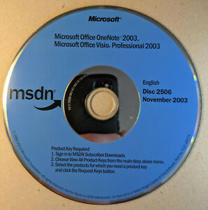 MSDN Microsoft Office OneNote 2003 AND Visio Pro 2003 disk only