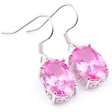 New Arrival High Quality Platinum Plated Honey Pink Kunzite Gems Hook Earrings