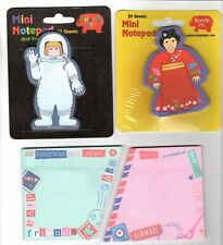 Lot of 4 Girls Mini Sticky Note Pads Female Astronaut Asian Geisha Girl Pink NEW