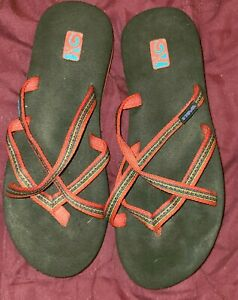 Teva EF00113A Sandals Sz. 10 Women's multi-color flip flops