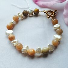 Handmade Genuine Gemstone Jewellery, sunstone & keshi pearl bracelet