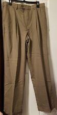 Geoffrey Beene Mens 36x32 Pleated Dress Pant dark tan