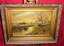 Framed Antique Oil Painting On Canvas - Cows In Stream - Louise Race Townsend