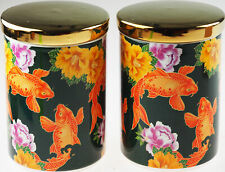 More details for set of 2 ethnic gold koi fish design canisters - ideal for tea coffee storage