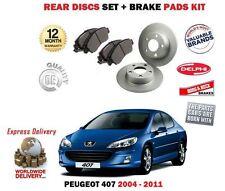 FOR PEUGEOT 407 ALL MODELS + SW 2004-2011 REAR BRAKE DISC SET + DISC PADS KIT