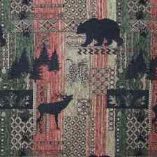 Brentwood Bear Elk Pine Trees Cabin Chenille Upholstery Fabric Lodge Furniture
