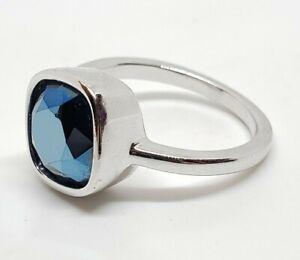 Elegant Swarovski Swan Silver Rhodium Plate Sapphire Foiled Crystal Gem Ring