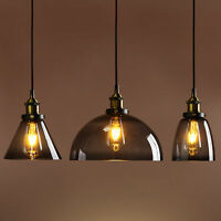 SMOKY GREY GLASS SHADE MODERN INDUSTRIAL LOFT CAFE PENDANT LIGHT CEILING LAMP