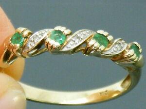 9ct Gold Emerald & Diamond Hallmarked Eternity Ring size P