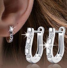1Pair New Wholesales Silver Plated Nice White Gemstones Women's Hoop Earrings EY