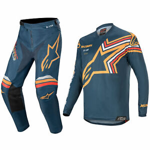 ALPINESTARS RACER MOTOCROSS MX KIT PANTS JERSEY - BRAAP NAVY / ORANGE