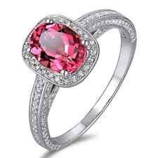 1.69ct Brazil Pink Tourmaline South Africa Good Diamond 14K White Gold Fine Ring