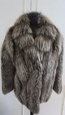 Luxurious Real Platinum Arctic Silver Fox Fur Coat Jacket sz M UK12EU40US10