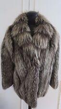Luxurious Real Platinum Arctic Silver Fox Fur Coat Jacket sz M UK12EU40US10