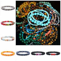 Men Women 8mm Natural Gemstones Braided Macrame Beads Bracelet Adjust Handmade