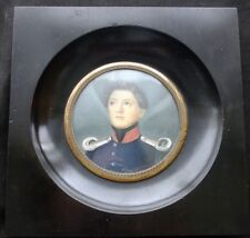 Miniature Oil On Celluloid Military Youth 19th C.