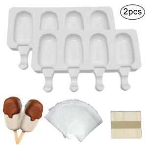 2 Stück Eisformen Silikon-Form für 4 Eis am Stiel Formen mit 50 Holzstielen