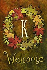 Toland Fall Wreath Monogram 12.5 x 18 Autumn Welcome Initial Garden Flag