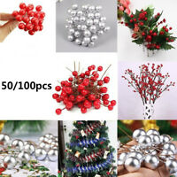 50/100pcs Simulation Cherry Christmas Tree Fruit Ball Branch Wreath Ornaments