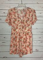 Entro Boutique Women's S Small Pink Green Floral Spring  Summer Shorts Romper