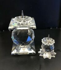 Vintage 2 Swarovski Silver Crystal Candle Holders European Silver Pin Style