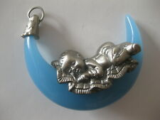 Baby's First Christmas Ornament Pewter Sleeping On A Light Blue Crescent Moon