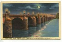Market Street Bridge at Night Harrisburg, Pennsylvania Linen Unposted Postcard