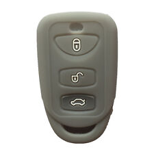 Gray 3 Buttons Silicone Key Fob Case Cover Jacket Key Skin fit for Kia Hyundai