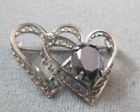 Vintage Sterling Silver Heart Brooch Pin Signed Filigree