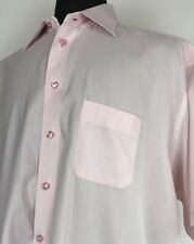 Eton Classic Made to Measure Solid S/S Pink Button Up Men's Sz 19/48