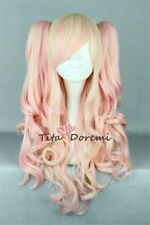 Lolita Pink Mix Blonde Long Curly Fashion Party Cosplay Wig Heat Resistant 2Clip
