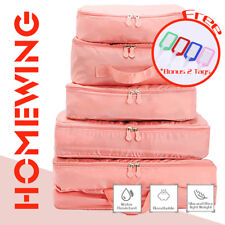 5pcs Packing Cubes Travel Luggage Organiser Suitcase Clothes Storage Pouch Bags Pink