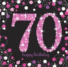 16 x Black & Pink 70 Napkins 33cm Ladies 70th Birthday Party Tableware Supplies