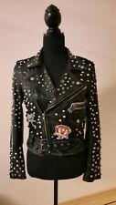 ZARA Limited Edition Black Leather Biker Jacket Studded with Patches - Size M