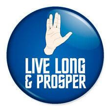 """Live Long And Prosper + Vulcan Salute 25mm 1"""" Pin Badge Button Star Trek Trekkie"""