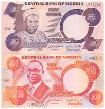 2005 5 & 10 Naira - Nigeria  Banknotes - Uncirculated