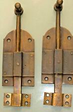 "2 small BOLT old vintage style doors furniture heavy brass flush slide 6"" bolts"