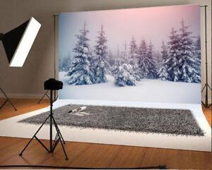 5x3ft Vinyl Studio Photography Backdrop Snowy Trees Background Prop