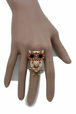 New Women Gold Metal Ring Fashion Jewelry Elastic Band Owl Bird Red Beads Animal