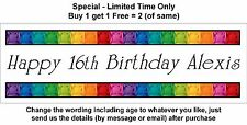 Personalised GIRL Birthday Party Banner Poster Sign, Any Age - BLING GEM STONES