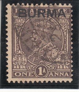 BURMA 1937. KGV 1 one Anna. Overprinted INDIA Issues. Used