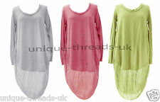 New Ladies LAGENLOOK Quirky OVERSIZED Long Jersey Cotton COCOON Dress TUNIC TOP