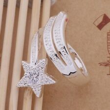 Ring Thumb CZ Star 925Sterling Silver Ladies Adjustable Band Wrap Plated Fashion
