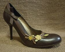 Ladies Shoes Midas Size 38.5 All Leather Brown Classic Court Heels EUC