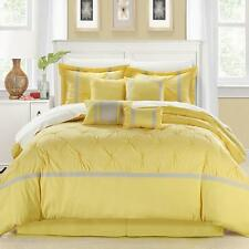 12 Piece Comforter Set Pleated Oversized/Overfilled Yellow/Grey King Size